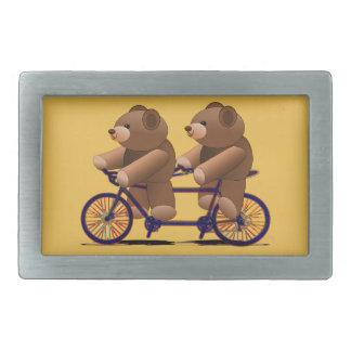 Bicycle Tandem, Teddy Bear Print Rectangular Belt Buckle