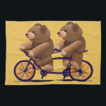 """Bicycle Tandem, Teddy Bear Print Towel<br><div class=""""desc"""">Fun cartoon drawing of teddy bears on a tandem bicycle. Teddy bear print custom cards,  t-shirts and gifts.</div>"""