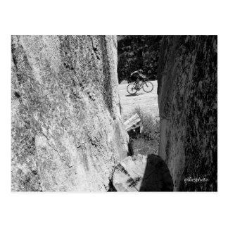 Bicycle Through the Granite B&W Postcard