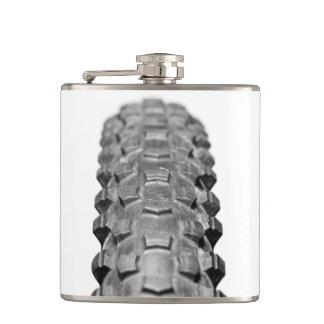 Bicycle Tire Tread Closeup Hip Flask