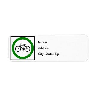 Bicycle Traffic Highway Sign Custom Return Address Labels