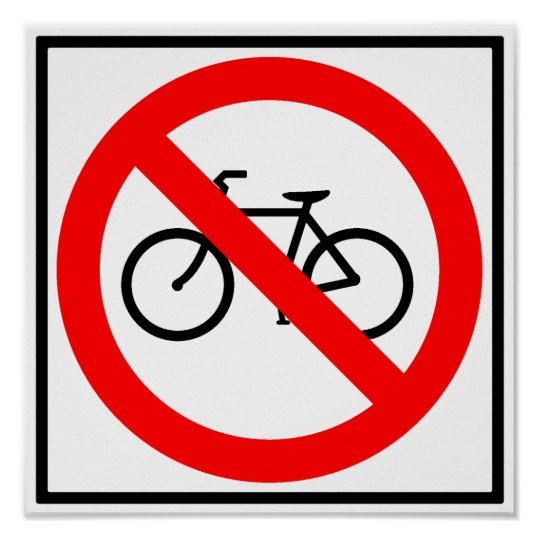 Bicycle Traffic Prohibited Highway Sign