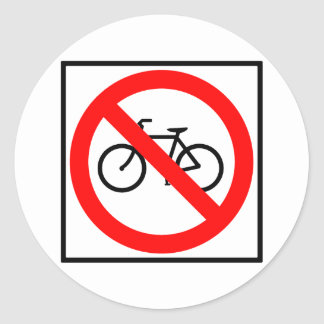 Bicycle Traffic Prohibited Highway Sign Classic Round Sticker