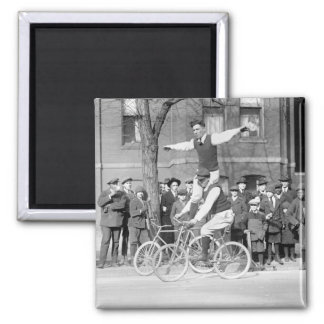 Bicycle Trick Riding, 1920s 2 Inch Square Magnet