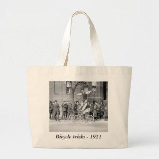 Bicycle Trick Riding, 1920s Large Tote Bag