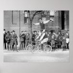 Bicycle Trick Riding, 1920s Print
