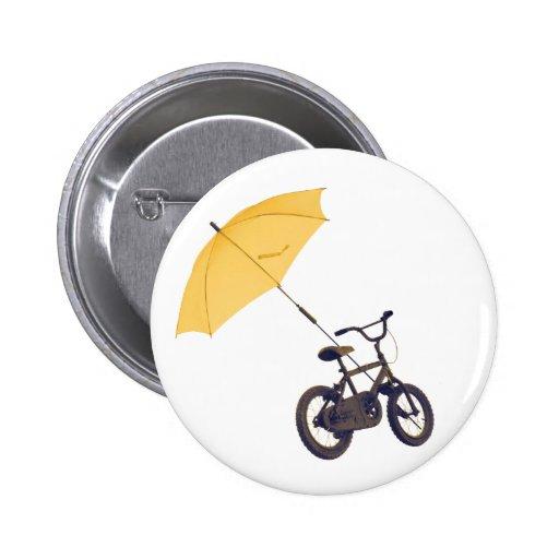bicycle + umbrella pinback buttons