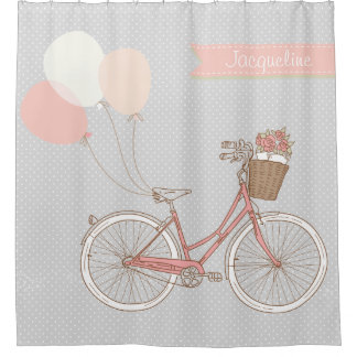 Bicycle w Balloons n Flowers Basket Polka Dots Shower Curtain