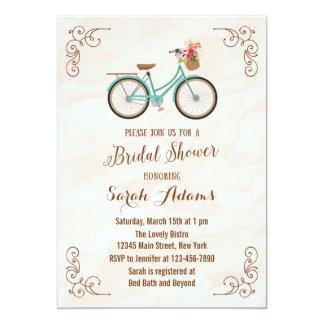 "Bicycle Watercolor Bridal Shower Invitation 5"" X 7"" Invitation Card"