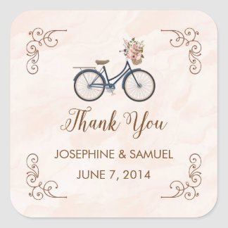 Bicycle Watercolor Thank You Stickers
