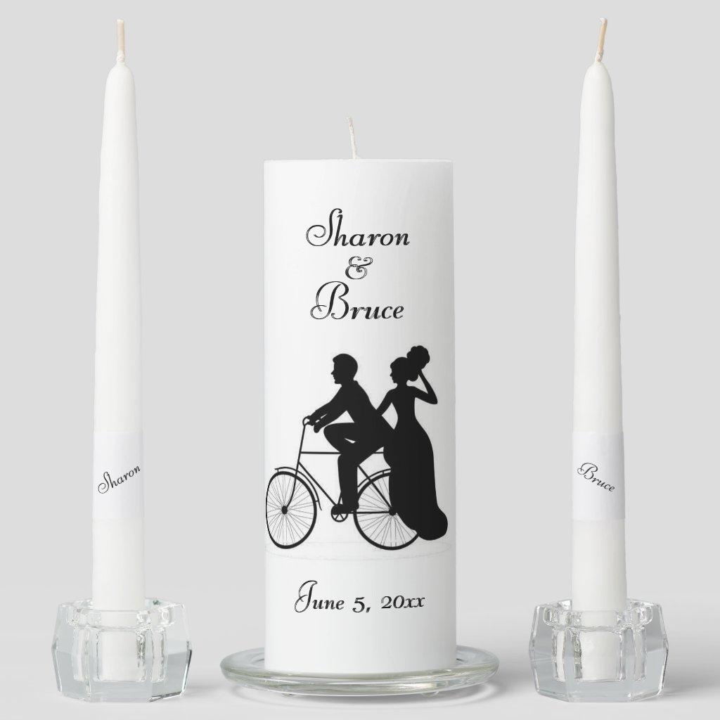 Bicycle Wedding Two Become One Unity Candle Set