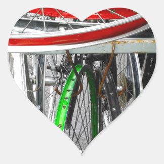 Bicycle Wheels Heart Sticker