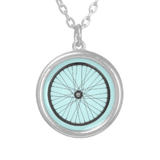 bicycle wire wheel silver plated necklace