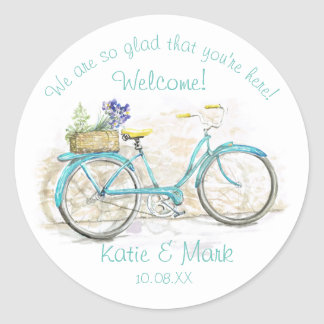 Bicycle with Basket Aqua Welcome Classic Round Sticker