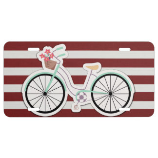 Bicycle with Basket of Flowers License Plate