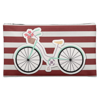Bicycle with Basket of Flowers Makeup Bag
