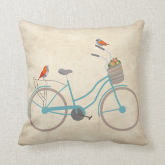 Bicycle with Birds Throw Pillow