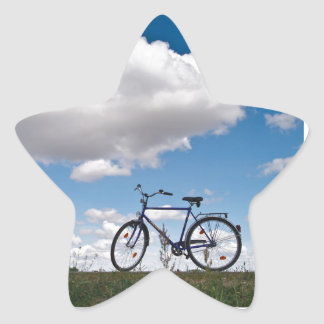 Bicycle with blue sky and clouds star sticker