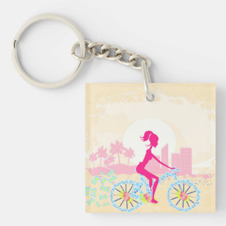 Bicycle with city Key Ring