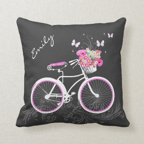 Bicycle With Flower Basket Custom Throw Pillow