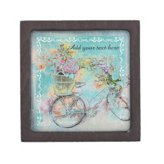 Bicycle with flower baskets on blue burlap jewelry box