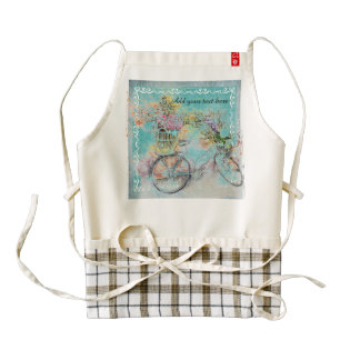 Bicycle with flower baskets on blue burlap zazzle HEART apron