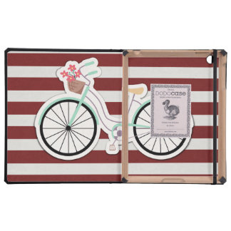 Bicycle with Flowers on a Red and White Background iPad Folio Case