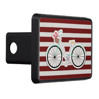Bicycle with Flowers on a Red and White Background Trailer Hitch Cover