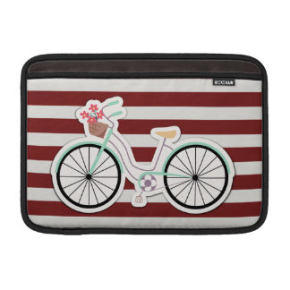 Bicycle with Flowers on a Red and White Background Sleeves For MacBook Air