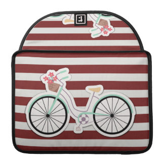 Bicycle with Flowers on a Red and White Background Sleeves For MacBooks