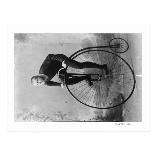 Bicycle with Large Front Wheel Photograph Postcard