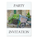 """Bicycle With Shopping Basket  Invitation 5"""" X 7"""" Invitation Card"""