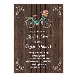 Bicycle Wood Bridal Shower Invitation