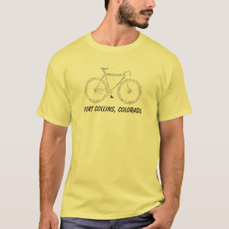 Bicycle word-art shirt for Fort Collins - Colorado