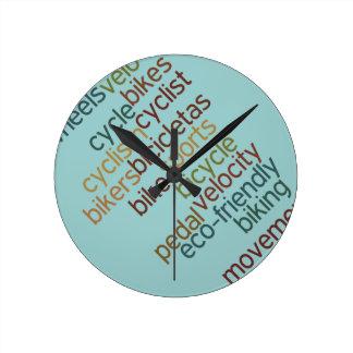 bicycle word cloud round clock