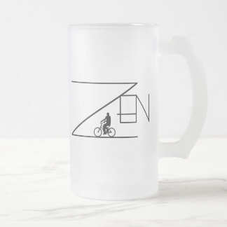 Bicycle Zen Frosted Glass Beer Mug