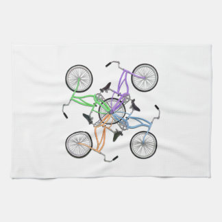 Bicycles! 4 different colored bikes interlocked towel