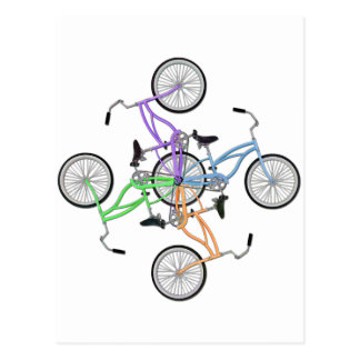 Bicycles! 4 different colored bikes interlocked postcard