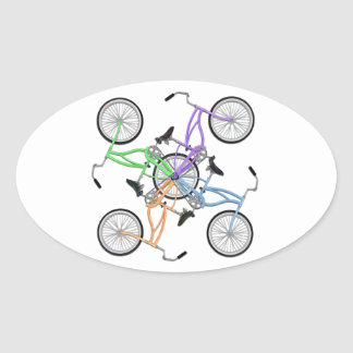 Bicycles! 4 different colored bikes interlocked sticker