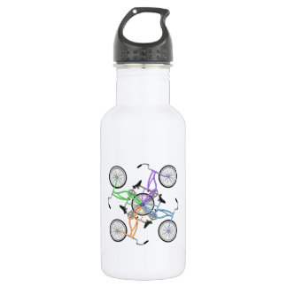 Bicycles! 4 different colored bikes interlocked water bottle