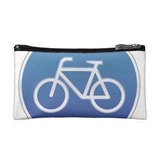 Bicycles allowed road sign makeup bag