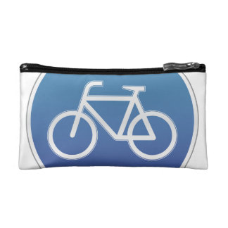 Bicycles allowed road sign makeup bags