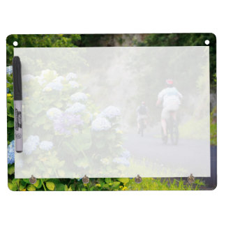 Bicycles and hydrangeas dry erase board with keychain holder