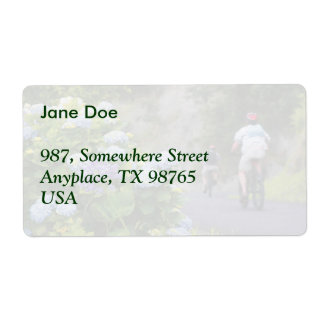 Bicycles and hydrangeas shipping label