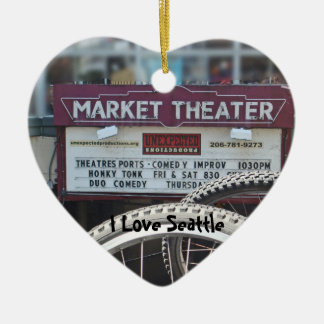 Bicycles at the Theater Double-Sided Heart Ceramic Christmas Ornament