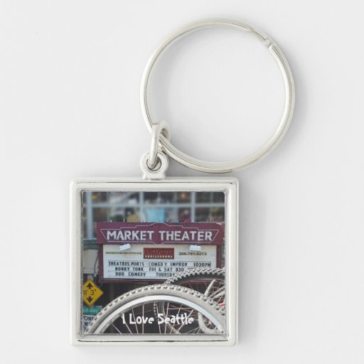 Bicycles at the Theater Silver-Colored Square Keychain