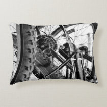 Bicycles Bike Tires Gears Chains Modern Pop Art Accent Pillow