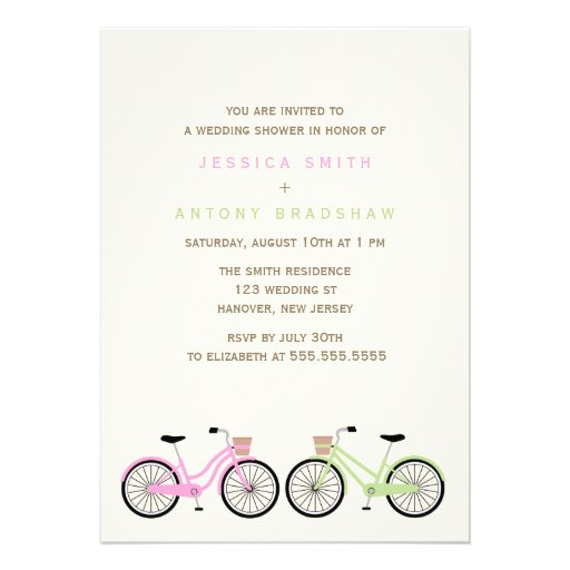 Bicycles His and Hers Bridal Shower Personalized Invite