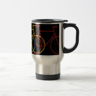 Bicycles in three colors 15 oz stainless steel travel mug