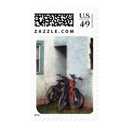 Bicycles in Yard Postage Stamp